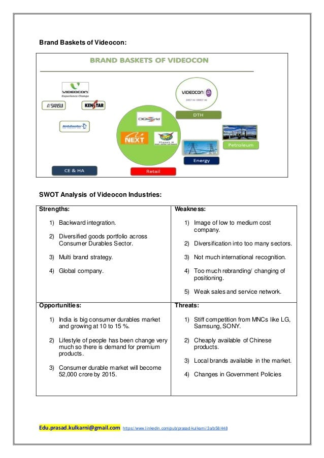 company analysis videocon Analysis of videocon's operations (consumer durable industry) by joyner gwendolyn rodrigues student id – 3769537 analysis of vi.