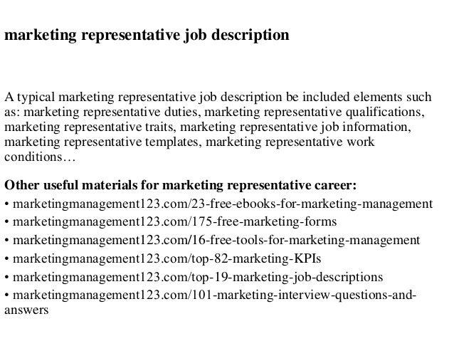Marketing representative job description