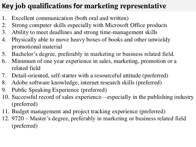 marketing representative job description