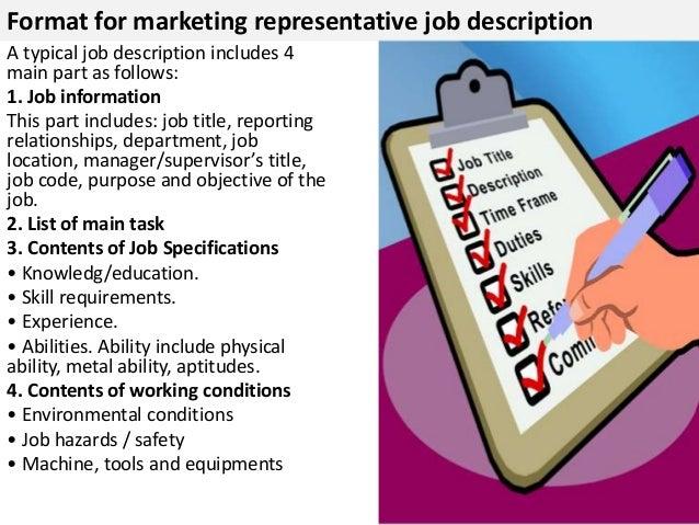 Superb ... 4. Format For Marketing Representative Job Description ...
