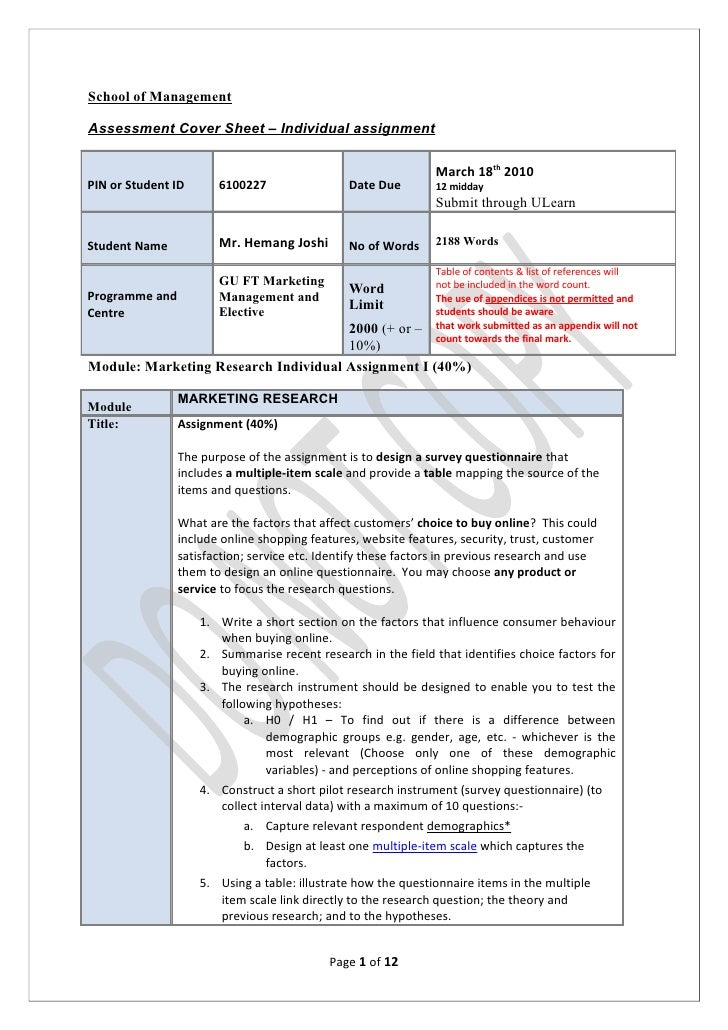 School of Management  Assessment Cover Sheet – Individual assignment                                                      ...