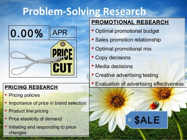 Problem-Solving Research PRICING RESEARCH  Pricing policies  Importance of price in brand selection  Product line prici...