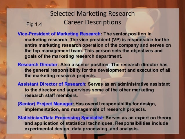 Selected Marketing Research Career Descriptions Vice-President of Marketing Research: The senior position in marketing res...
