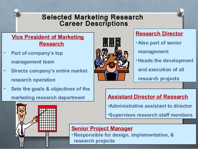 Selected Marketing Research Career Descriptions Vice President of Marketing Research • Part of company's top management te...