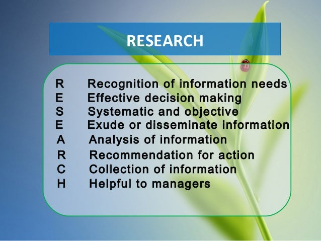 E Effective decision making S Systematic and objective E Exude or disseminate information A Analysis of information R Reco...
