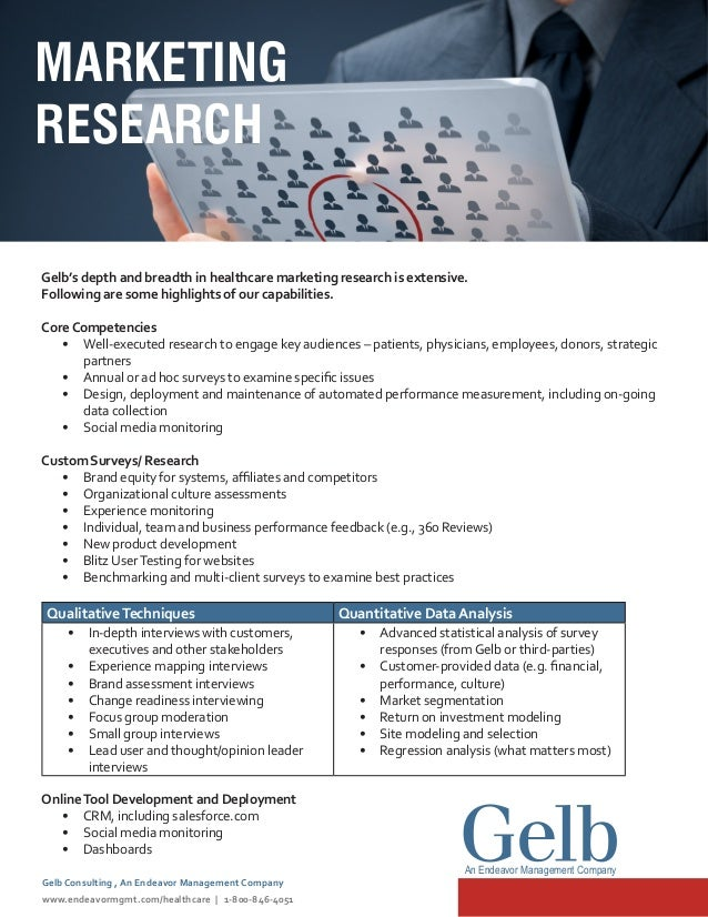 Gelb's depth and breadth in healthcare marketing research is extensive. Following are some highlights of our capabilities....