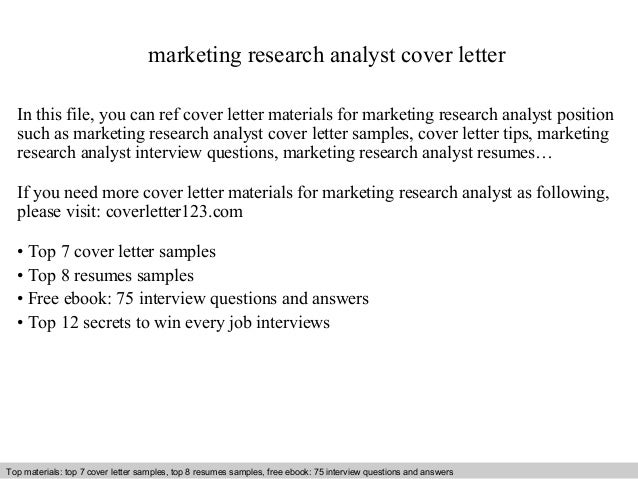 Marketing Research Analyst Cover Letter In This File You Can Ref Materials For