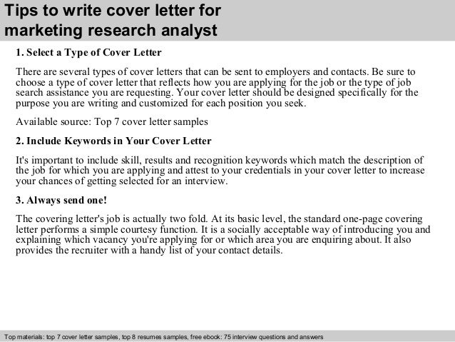 3 Tips To Write Cover Letter For Marketing Research Analyst