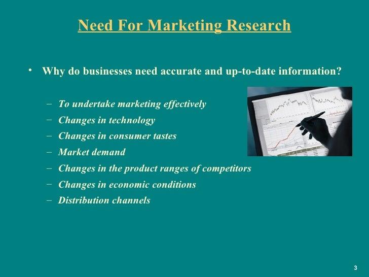 Need For Marketing Research <ul><li>Why do businesses need accurate and up-to-date information? </li></ul><ul><ul><li>To u...