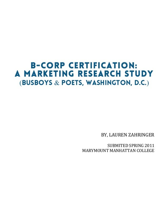 B Corp Certification A Marketing Research Study