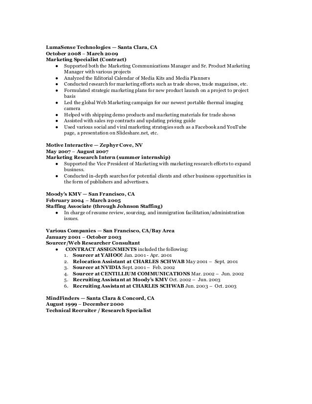 marketing communications u0026 analyst resume cv