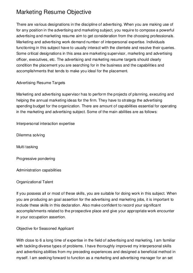Marketing Resume Objectivethere Are Various Designations In The