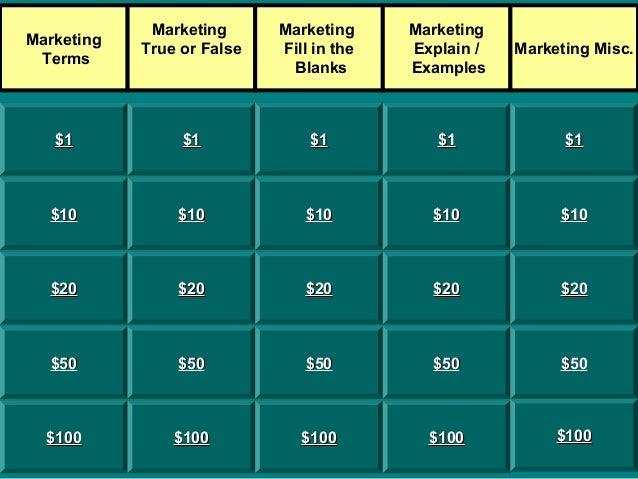 Marketing True or False  Marketing Fill in the Blanks  Marketing Explain / Examples  Marketing Misc.  $1  $1  $1  $1  $1  ...