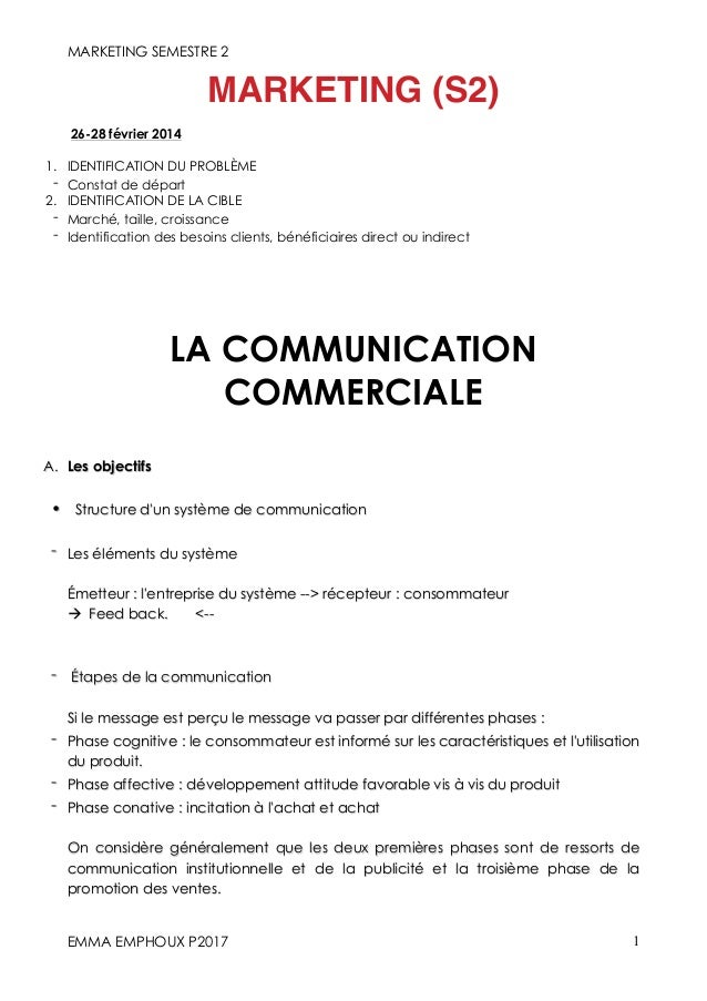 MARKETING SEMESTRE 2 EMMA EMPHOUX P2017 1 MARKETING (S2) 26-28 février 2014 1. IDENTIFICATION DU PROBLÈME - Constat de dép...