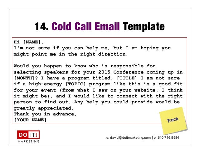 Marketing and sales accelerator for thought leading for Email cold call template