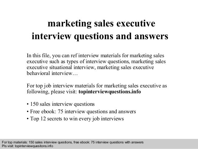 Marketing Sales Executive Interview Questions And Answers