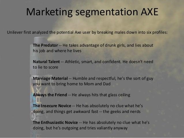 market segmentation of axe deodorant Brand name // rexona is a deodorant brand manufactured by british-dutch  company unilever  market segmentation as axe's way of differentiation.