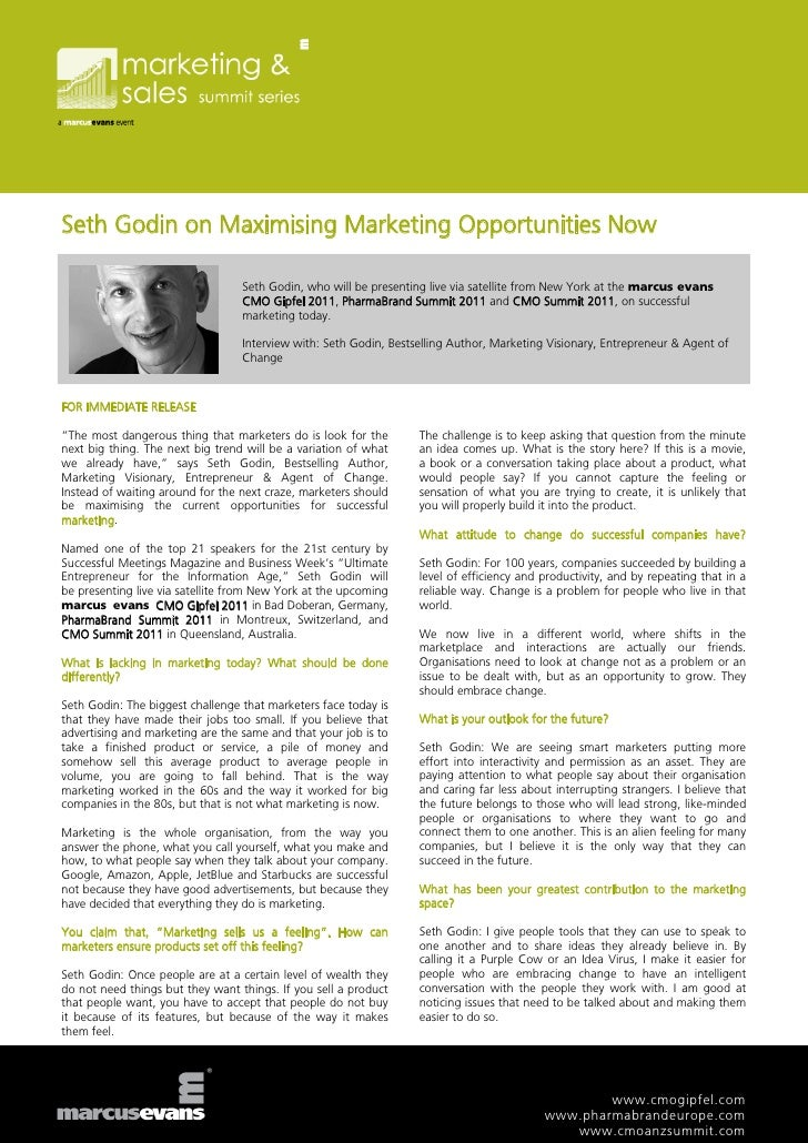 Seth Godin on Maximising Marketing Opportunities Now                                  Seth Godin, who will be presenting l...