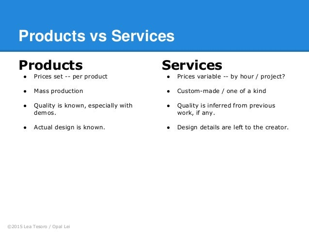 The difference between marketing a product and a service