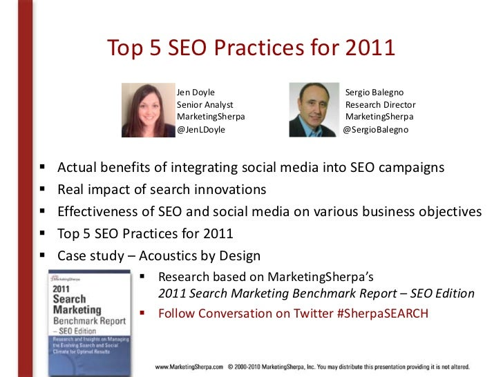 MarketingSherpa's Top 5 SEO Practices for 2011 Slide 2