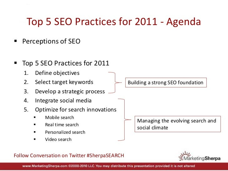 MarketingSherpa's Top 5 SEO Practices for 2011 Slide 3