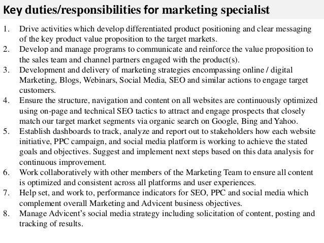 Marketing Specialist Job Description