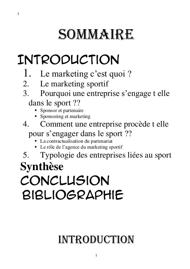 1                    SommaireIntroduction 1. Le marketing c'est quoi ?    2. Le marketing sportif    3. Pourquoi une entre...