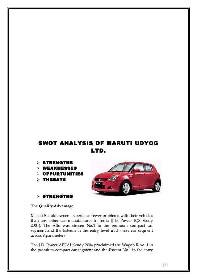 maruti suzuki india ltd swot analysis Swot analysis of maruti suzuki with usp, competition, stp (segmentation,   maruti suzuki is the largest passenger car company in india, accounting for.