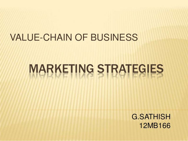 MARKETING STRATEGIES VALUE-CHAIN OF BUSINESS G.SATHISH 12MB166