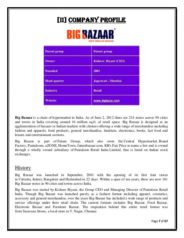 PRESENTATION ON BIG BAZAAR - PowerPoint PPT Presentation