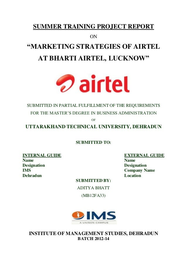 Summer internship report on marketing strategies of airtel yelopaper Images