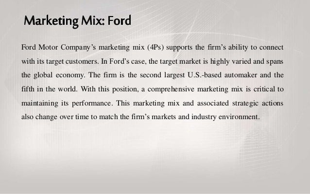 fords promotional mix