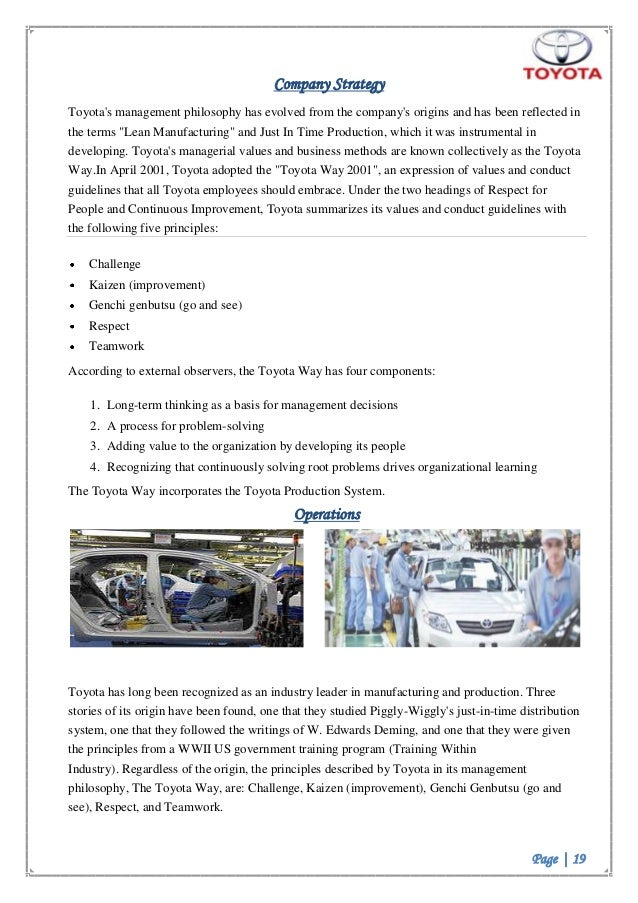 toyota motor corporation organization strategies View notes - toyota motor corporation project (2) from management 201 at liverpool hope running head: marketing plan for toyota motor corporation toyota motor corporation project marketing plan and.