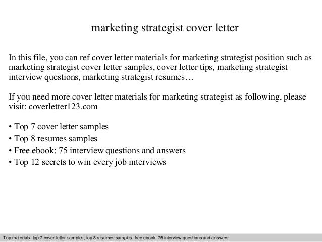 Marketing Strategist Cover Letter In This File You Can Ref Materials For Sample