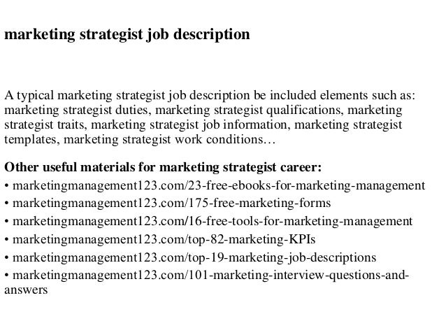 Marketing strategist job description – Digital Marketing Job Description
