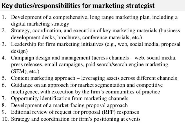 Marketing Job Descriptions  Resume Template Sample