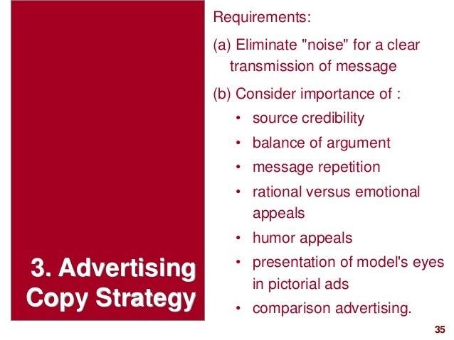 """35visit: www.studyMarketing.org 3. Advertising Copy Strategy Requirements: (a) Eliminate """"noise"""" for a clear transmission ..."""