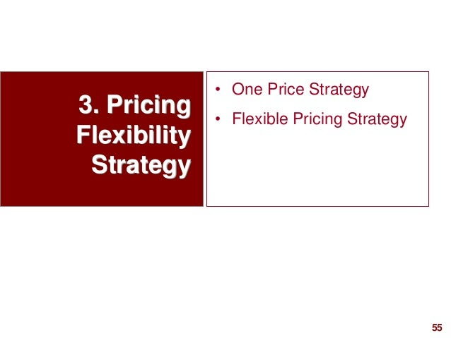 55visit: www.studyMarketing.org 3. Pricing Flexibility Strategy • One Price Strategy • Flexible Pricing Strategy