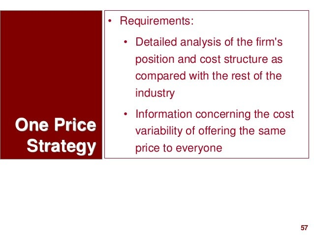 57visit: www.studyMarketing.org One Price Strategy • Requirements: • Detailed analysis of the firm's position and cost str...