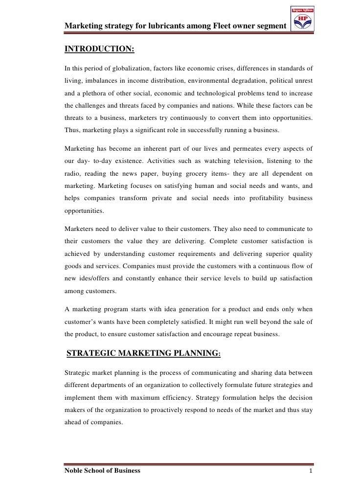 Marketing strategy for lubricants among fleet owner segment
