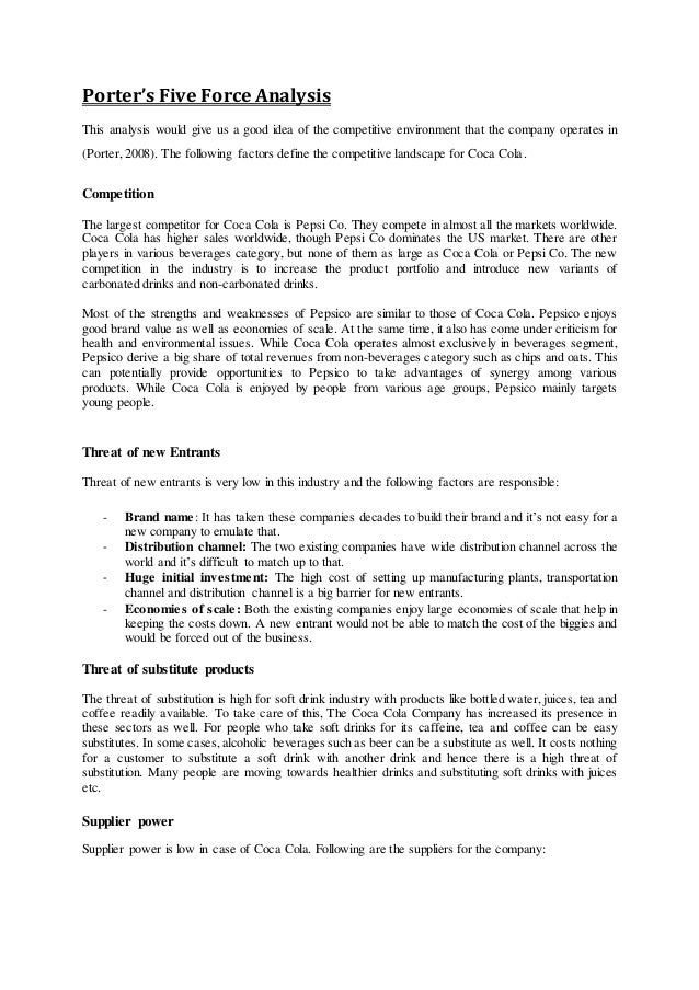Five force analysis of coca cola in china Homework Sample