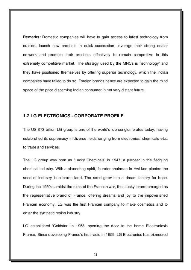 Calendario 1950.Marketing Strategy Of Lg Project