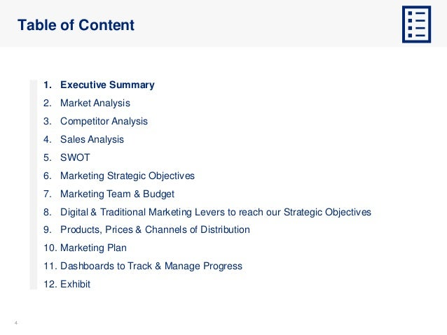 44 Table of Content 1. Executive Summary 2. Market Analysis 3. Competitor Analysis 4. Sales Analysis 5. SWOT 6. Marketing ...