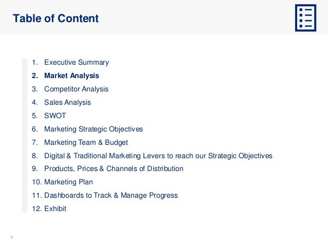66 Table of Content 1. Executive Summary 2. Market Analysis 3. Competitor Analysis 4. Sales Analysis 5. SWOT 6. Marketing ...