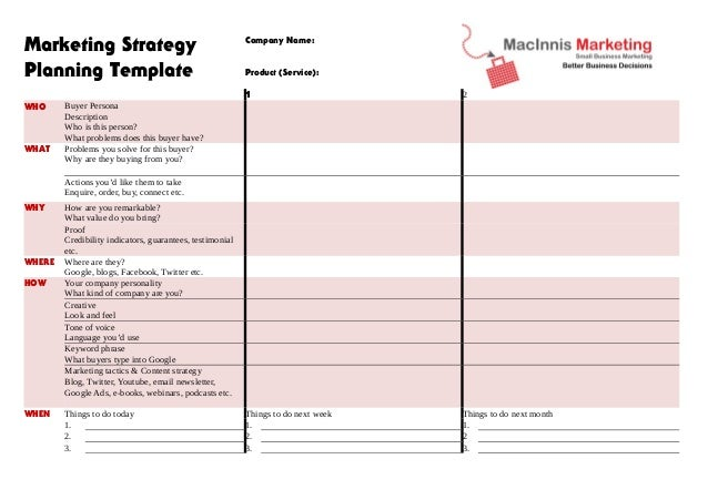 Wonderful Marketing Strategy Planning Template WHO WHAT Company Name: Product  (Service): 1 2