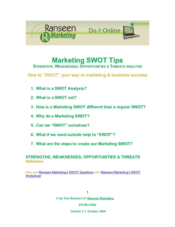 """Marketing SWOT Tips    STRENGTHS, WEAKNESSES, OPPORTUNITIES & THREATS ANALYSIS How to """"SWOT"""" your way to marketing & busin..."""