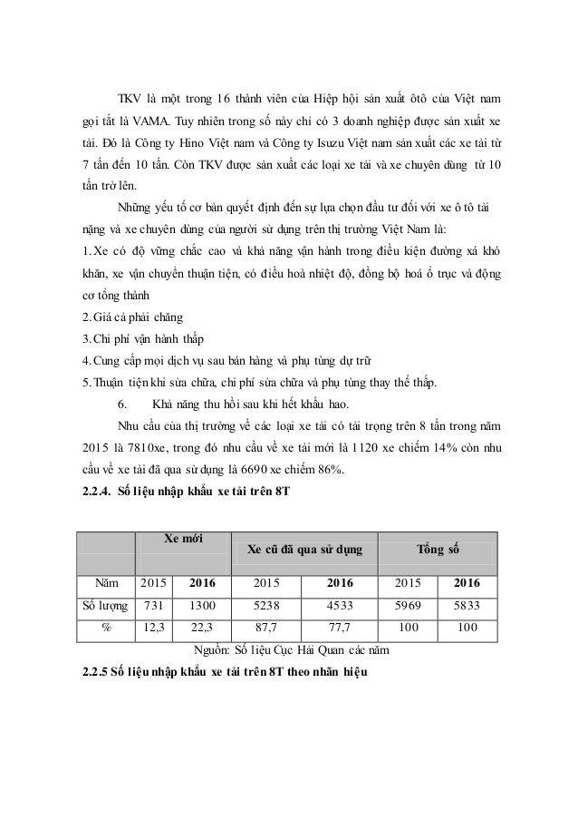 TKV là một trong 16 thành viên của Hiệp hội sản xuất ôtô của Việt nam gọi tắt là VAMA. Tuy nhiên trong số này chỉ có 3 doa...