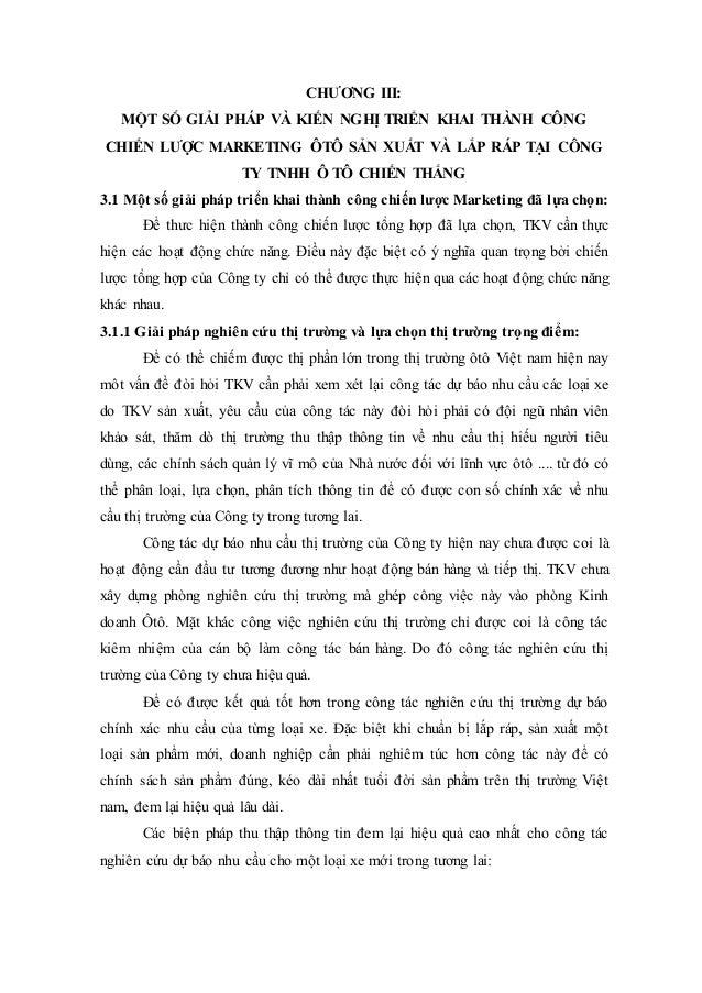 CHƯƠNG III: MỘT SỐ GIẢI PHÁP VÀ KIẾN NGHỊ TRIỂN KHAI THÀNH CÔNG CHIẾN LƯỢC MARKETING ÔTÔ SẢN XUẤT VÀ LẮP RÁP TẠI CÔNG TY T...