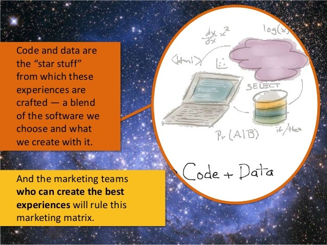 """Code and data are the """"star stuff"""" from which these experiences are crafted — a blend of the software we choose and what w..."""