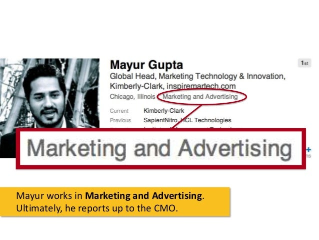 Mayur works in Marketing and Advertising. Ultimately, he reports up to the CMO.